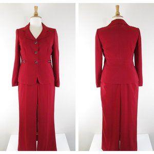 Tahari Solid Red Pant Set Suit Formal Career 12